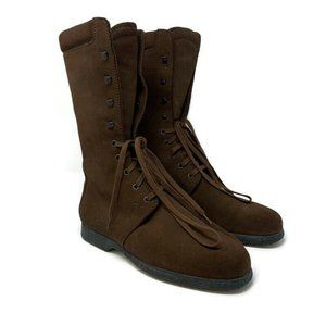 TODS Tall Brown Suede Combat Boots Lace Up Winter